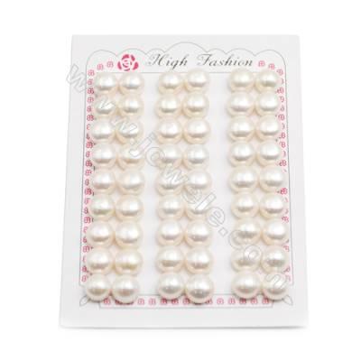 Fresh Water AAA Grade Half-Drilled Pearl Beads, Flat Back, Diameter 10~10.5mm, Hole 0.8mm, 54pcs/card
