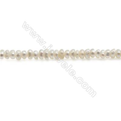 "Natural Fresh Water Pearl Beads Strand, Oval, Size 1~2mm, Hole 0.3mm, 15~16"" x 1strand"