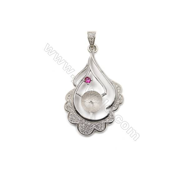 925 Sterling silver platinum plated CZ pendants, 23x36mm, x 5pcs, tray 9mm, needle 0.7mm