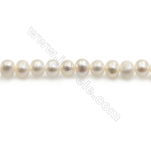 "Natural Fresh Water Pearl Beads Strand  Oval  Size 5~6mm  Hole 0.8mm  15~16"" x 1strand"