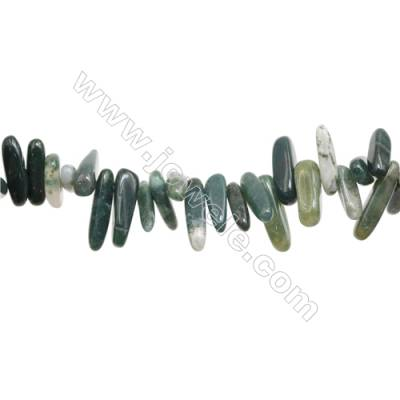"Natural Moss Agate Beads Strand  2~6mm x11~22mm  hole 1mm 15~16"" x 1piece"