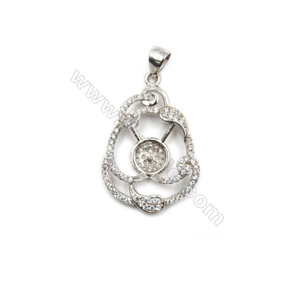 925 sterling silver platinum plated zircon pendant, 19x29mm, x 5 pcs, tray  8mm, needle 0.7mm