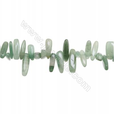 Natural Green Aventurine Beads Strand  Irregular Rectangle  Size 4~5mm x 10~25mm  hole 1mm   15~16'' x 1 piece