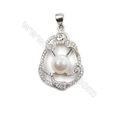 925 sterling silver platinum plated zircon pendant-D5411 19x29mm x 5 pcs disc diameter  8mm small needle diameter 0.7mm