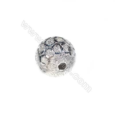 925 Sterling silver frosted beads, 14mm, x 5pcs, hole 3mm