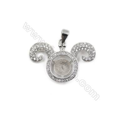 Platinum plated 925 sterling silver CZ pendant, 28x20mm, x 5pcs, tray 7mm, needle 0.7 mm