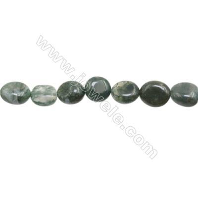 """Natural Moss Agate Beads Strand 9~10mm x 10~11mm  Irregular  hole 1mm  15~16"""" x 1piece"""