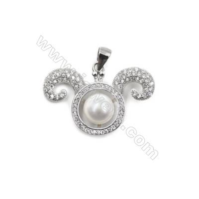 Platinum plated 925 sterling silver CZ pendant -D5695 28x20mm x 5pcs   disc diameter  7mm small needle diameter 0.7 mm