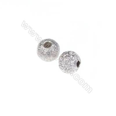 Frosted 925 sterling silver beads, 4mm, x 100pcs, hole 1mm