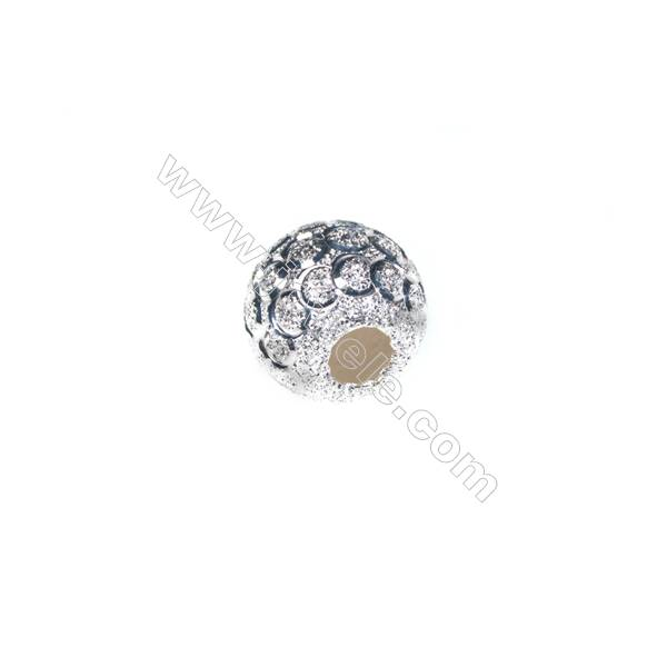 925 Sterling silver frosted beads, 10mm, x 20pcs, hole 3.5mm