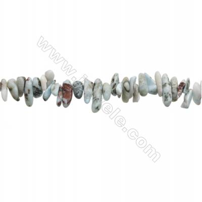"Natural Larimar Chips Strand  Size 1~4x9~15mm   hole 1mm  15~16"" x 1strand"