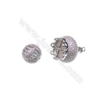 925 sterling silver platinum plated zircon jewelry accessories, 16x19mm, x 2pcs, & 10x10mm x 2pcs