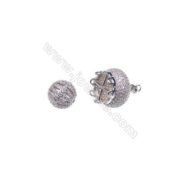 925 sterling silver platinum plated zircon jewelry accessories, 16x19mm, x 2pcs, & 10x10mm x 2pcs