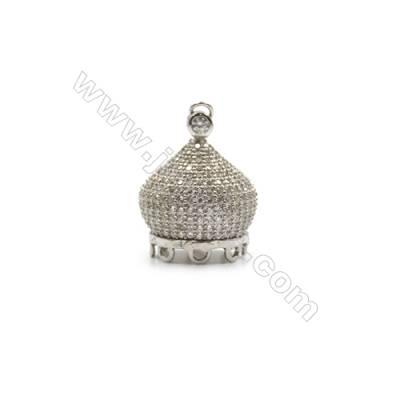 925 sterling silver platinum plated zircon jewelry accessories -84007 16x19mm x 2pcs & 10x10mm x 2pcs