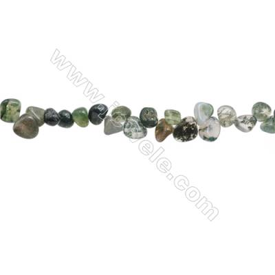 "Natural Moss Agate Beads Strand, Irregular Oval, Size 5~9mm x6~10mm, Hole 1mm, 15~16""/strand"