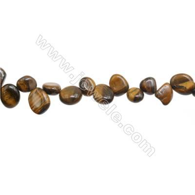 "Tiger Eye Beads Strand  Irregular Oval  Size 7~11x8~18mm   hole 1mm 15~16"" x 1piece"