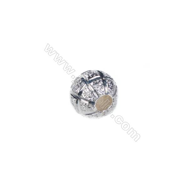 925 sterling silver frosted beads, 8mm, x 20pcs, hole 3mm