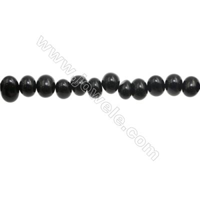 """Natural Black Agate Beads Strand  Irregular Oval  About 6~8 x9~10mm  hole 1mm 15~16"""" x 1strand"""