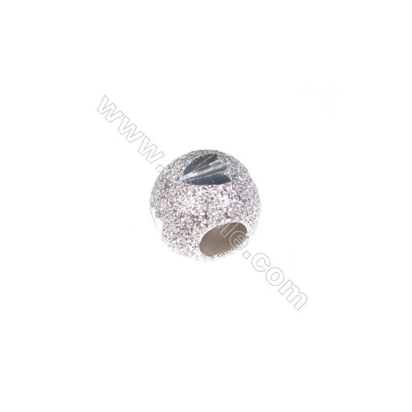 Frosted 925 sterling silver bead, 7mm, x 30pcs, hole 3mm