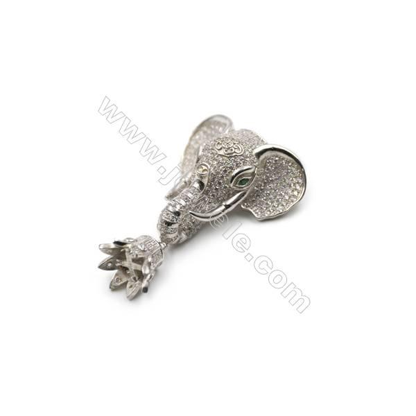 925 sterling silver elephant designed platinum plated CZ pendant, 30x45 mm, x 2pcs