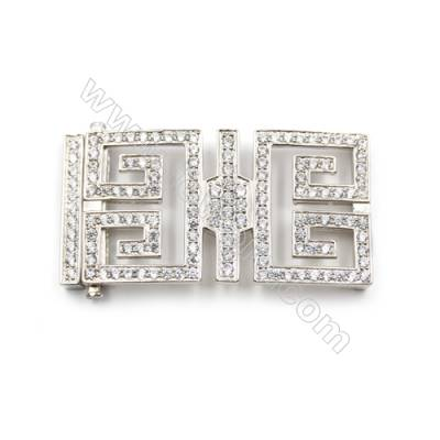 925 Sterling silver cubic zircon micro pave square clasp, Diameter 29x51mm, x2pcs