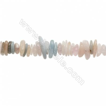 "Mix Morganite Chips Strand, Irregular, Size 1~4mm x8~16mm, Hole 1mm, 15~16""/strand"