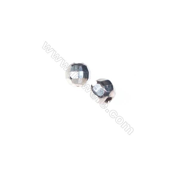 925 Sterling silver faceted beads, 4 mm, hole 1 mm, x 200pcs