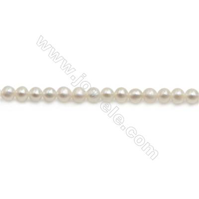 "Fresh Water White Pearl Beads Strand  Round  Size 3~4mm  Hole 0.6mm  15~16"" x 1strand"