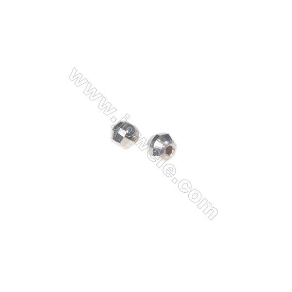 925 sterling silver round faceted beads, 2.5 mm, x 200pcs, hole 0.8 mm
