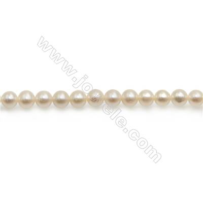 "Fresh Water White Pearl Beads Strand  Round  Size 4~5mm  Hole 0.8mm  15~16"" x 1strand"