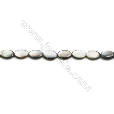 Grey Mother of Pearl Shell Beads Strand, Flat Oval, Size 10x14mm, Hole 0.8mm, about 29 beads/strand, 15~16""