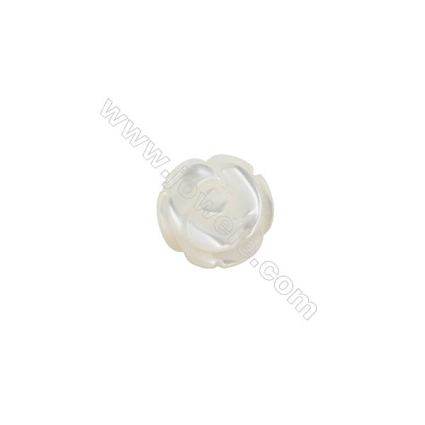 White shell rose shape mother-of-pearl, 8mm, hole 0.9mm, 50pcs/pack