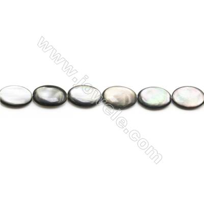 Grey Mother of Pearl Shell Beads Strand, Flat Oval, Size 15x20mm, Hole 0.8mm, about 20 beads/strand, 15~16""