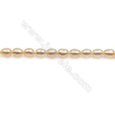 "Fresh Water Pink Pearl Beads Strand  Oval  Size 3.5~4x4.5~5mm  Hole 0.6mm  15~16"" x 1strand"