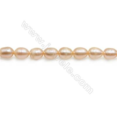 "Fresh Water Pink Pearl Beads Strand  Oval  Size 6~8mm  Hole 0.8mm  15~16"" x 1strand"