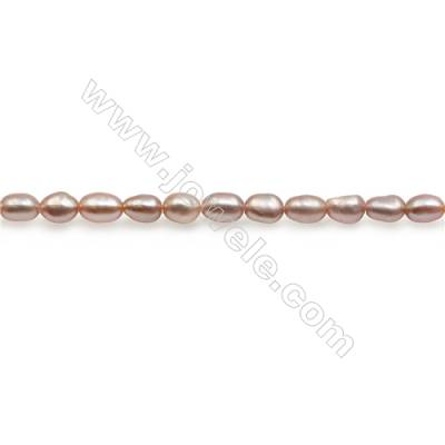 "Fresh Water Violet Pearl Beads Strand  Oval  Size 3~4mm  Hole 0.6mm  15~16"" x 1strand"