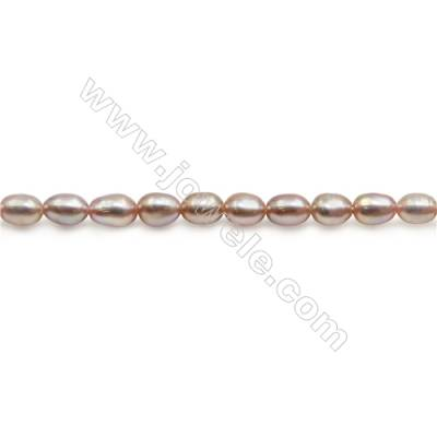 "Fresh Water Violet Pearl Beads Strand  Oval  Size 4~5mm  Hole 0.6mm  15~16"" x 1strand"