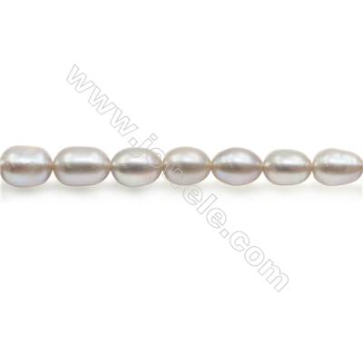 """Fresh Water Silver Pearl Beads Strand  Oval  Size 5~6x6.5~7mm  Hole 0.8mm  15~16"""" x 1strand"""