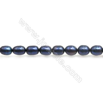 "Fresh Water Blue Pearl Beads Strand  Oval  Size 5~7x6~8mm  Hole 0.8mm  15~16"" x 1strand"