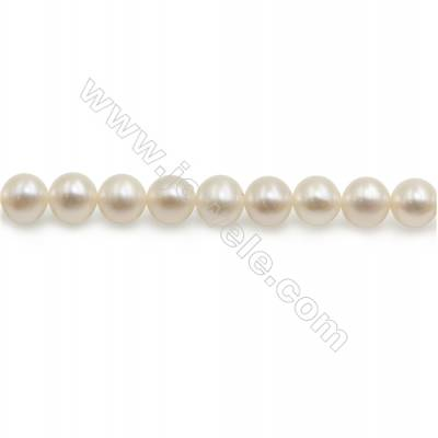 "Fresh Water Pearl Beads Strand  Round  Size 6~7mm  Hole 1mm  15~16"" x 1strand"