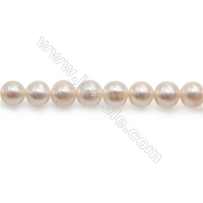 """Fresh Water Pearl Beads Strand  Round  Size 8~9mm  Hole 1mm  15~16"""" x 1strand"""