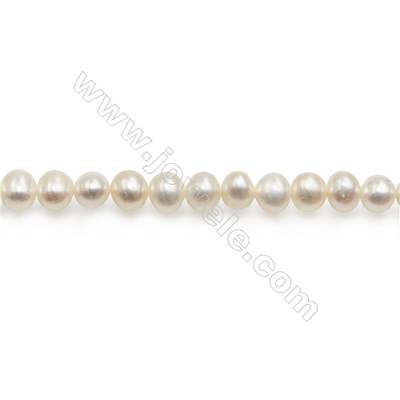 "Fresh Water Pearl Beads Strand  Oval  Size 4~5mm  Hole 0.8mm  15~16"" x 1strand"