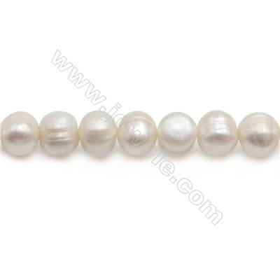 "Fresh Water White Pearl Beads Strand  Round  Size 9~10mm  Hole 0.8mm  15~16"" x 1strand"