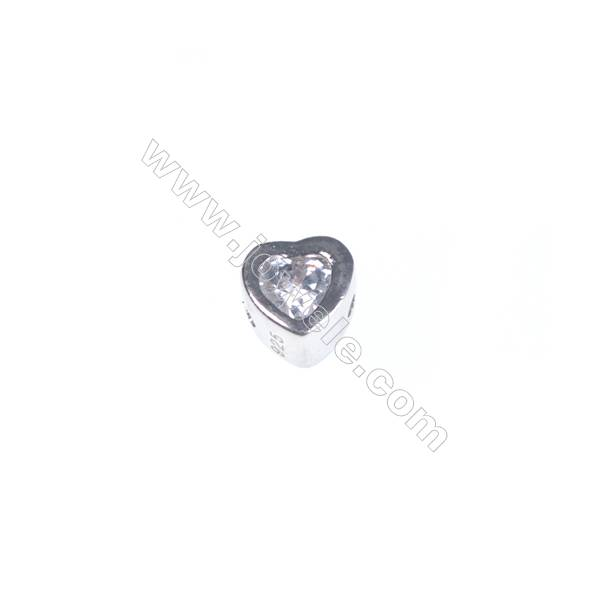 925 sterling silver platinum plated heart-shaped jewelry accessories, 4x4 mm, x 20pcs, aperture 0.8 mm