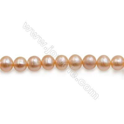 "Fresh Water Pink Pearl Beads Strand  Round  About 7mm  Hole 0.8mm  15~16"" x 1strand"
