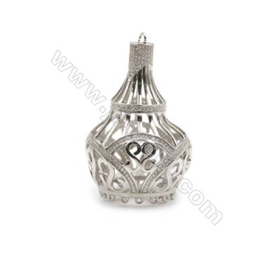 925 sterling silver platinum plated zircon pendant, with tassels, 34x52mm, x 2 pcs