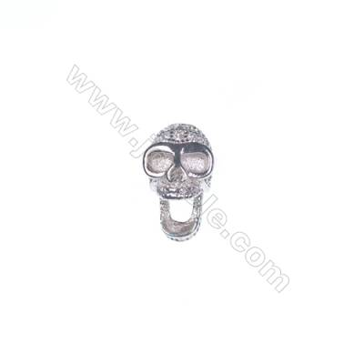 925 sterling silver platinum plated skull design CZ jewelry accessories, 5x7mm, x 5pcs