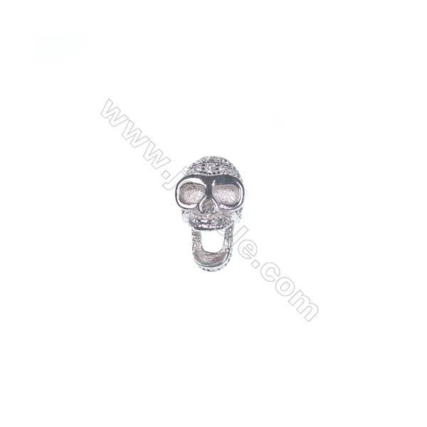 925 sterling silver platinum plated skull design CZ jewelry accessories, 5x7mm, x 5pcs