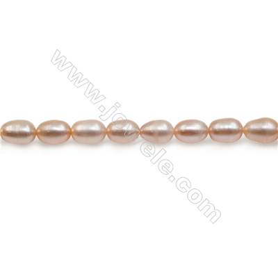 "Fresh Water Pink Pearl Beads Strand  Oval  Size 5~5.5x6.5~7.5mm  Hole 0.8mm  15~16"" x 1strand"