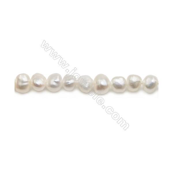 "Fresh Water White Pearl Beads Strand  Irregular  Size 6~7mm  Hole 0.6mm  15~16"" x 1strand"